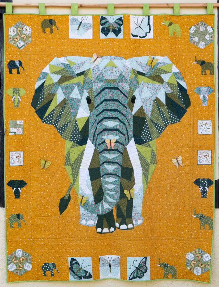 Quilt 11 – Elephants in Green by Tula eleven – Anja Portsch (Ohorn)